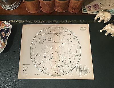 Original 1880 Antique Astronomy Celestial STAR CONSTELLATION MAP Taurus Pisces