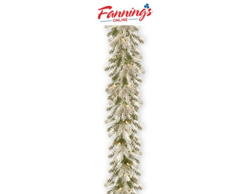 New Opened National Tree Pine 9 Foot Feel Real Snowy Sheffield Spruce Garland