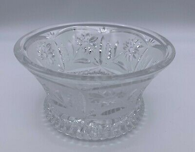 """Frosted / Pressed Clear Glass Candy Dish / Bowl w/ Floral Pattern - 5"""" Across"""