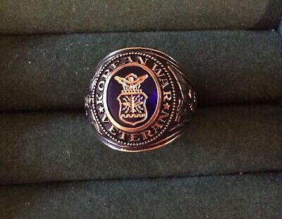 US Air Force Korean War Veteran Ring Size 12.5 Blue Engraved Stone 12 1/2 Gift