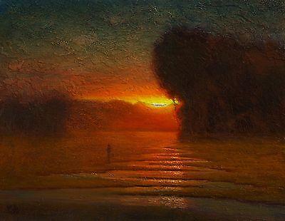 Купить original oil painting landscape signed on canvas vintage antique style 6537 COLE