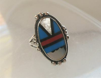 Southwestern Signed Sterling Silver Turquoise MOP Coral Inlay Oval Ring Sz 6