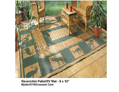 Reversible Patio RV Mat Outdoor Rug 9' x 12' Poolside, Awning, Picnic or Beach