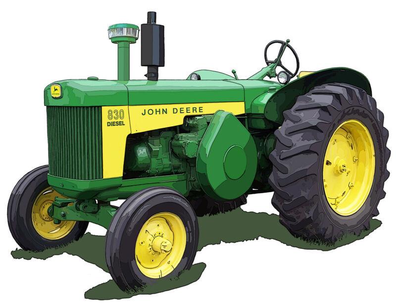 John Deere Model 830 Diesel canvas art print by Richard Browne farm tractor