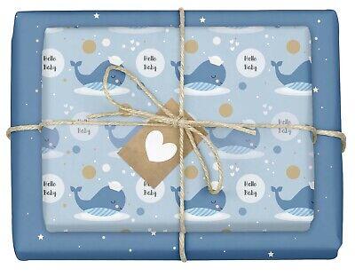4x Geschenkpapier zur Geburt für Jungen: Baby-Wal, blau + Geschenkanhänger   NEU