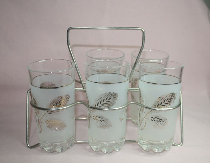 VTG. FROSTED & GOLD WHEAT PATTERN DRINKING GLASSES/TUMBLERS & CARRIER  ITALY