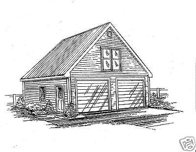 24 x 30 2 - Car Front Gable Garage Building Blueprint Plans with Walkup Loft 2x4