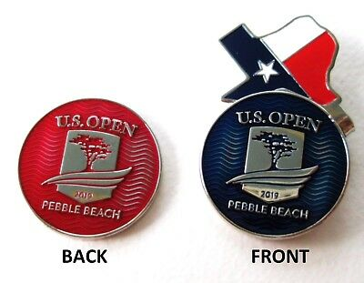2019 US OPEN at PEBBLE BEACH CC, BLUE/RED, LARGE, BALL MARKER & TEXAS HAT CLIP