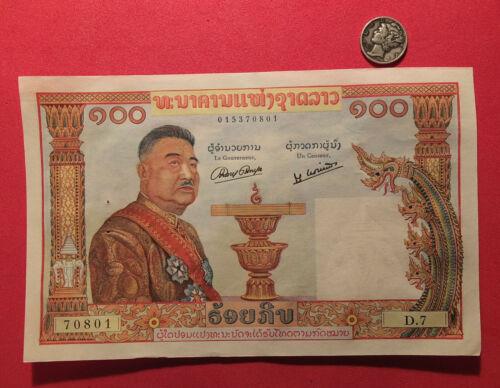 LAOS -1957 - 100 KIP BANK NOTE - KING SISAVANG VONG  P6 UNC. NOTE #70801  MHT7