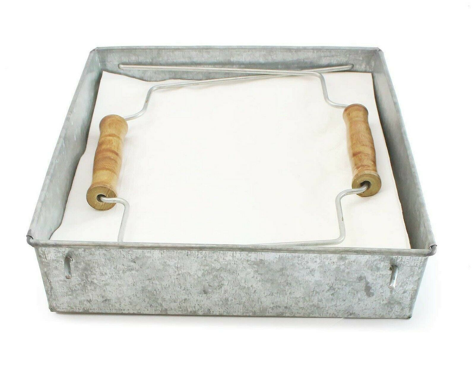 Rustic Farmhouse Metal Napkin Holder With Wood Handle Kitchen Dining Country