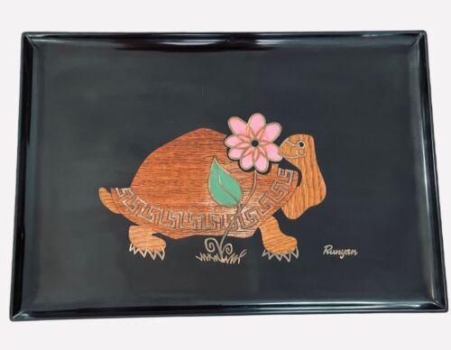 Couroc of Monterey Turtle Tray Mid Century Inlaid Wood Brass Platter Vintage