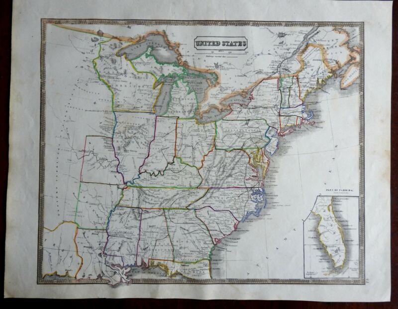 United States Pre-Civil War Territories New England Louisiana 1846 scarce map