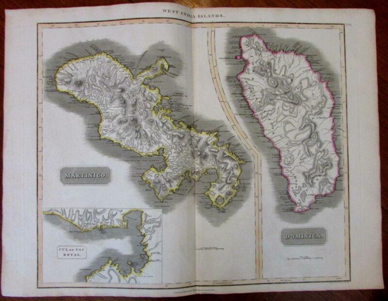 Martinique Dominica islands Cul de Sac Royal c.1815 large Caribbean Thomson map