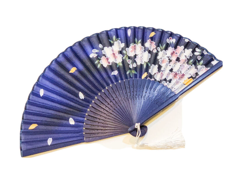 Chinese Silk Hand Fan Handheld Folding Fan With White Cherry Blossom Design