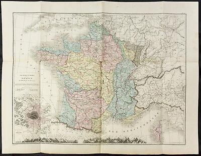 Große Antike Karte (1872 - Große Landkarte Antike Frankreich - Drioux Leroy - Physik und Politik)