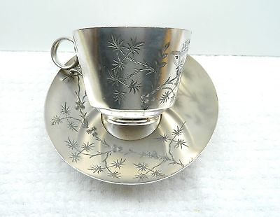 Antique James W. Tufts Aesthetic Movement Mustache Cup and Saucer #1362 Vintage