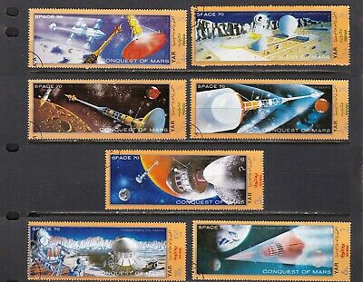 SPACE 7 BEAUTIFUL LONG STAMP SET 1 1/2 X 3 3/4 EVENTUAL TRIP TO MARS - $0.85