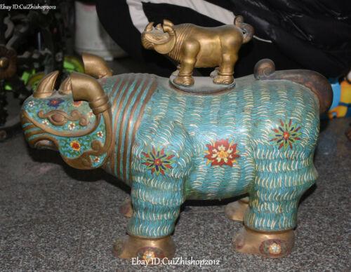 "21""old Cloisonne Enamel Purple Bronze Gold Rhinoceros Bull Ox Animal Pot Zun"