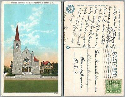 CHESTER W.VA SACRED HEART CHURCH & RECTORY 1933 VINTAGE POSTCARD