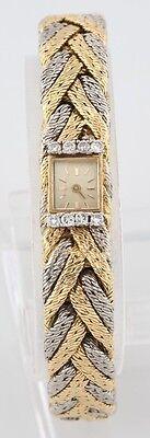 Gold Platinum Diamond Bracelet Watch Blancpain Rayville Movement 17 Jewels Braid