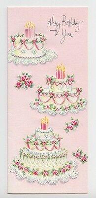 Unused, Lovely Pink Floral Birthday Cakes, Vintage Birthday Greeting Card!