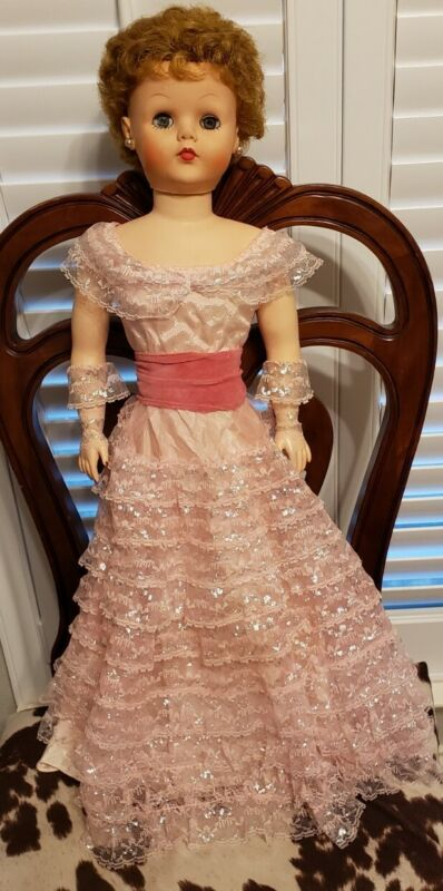 VINTAGE 1958 SWEET ROSEMARY DOLL PINK EVENING DRESS WITH ACCESSORIES