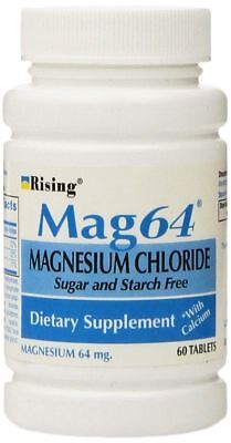 Magnesium Chloride Dietary Supplement - MAG 64 Magnesium Chloride Sugar and Starch Free Dietary Supplement -  60 Tablets