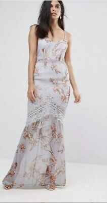 Hope & Ivy Grey Floral Strappy  Maxi Dress UK8 £80