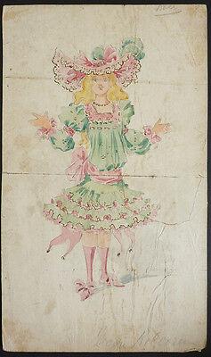 Dessin Projet de costume pour opéra théâtre vers 1900 par MINON ou (Minon Costume)