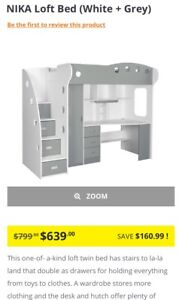 Jysk Loft bed including mattress and chair