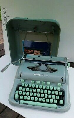 HERMES 3000 typewriter 1960s w/ case and manual seafoam green