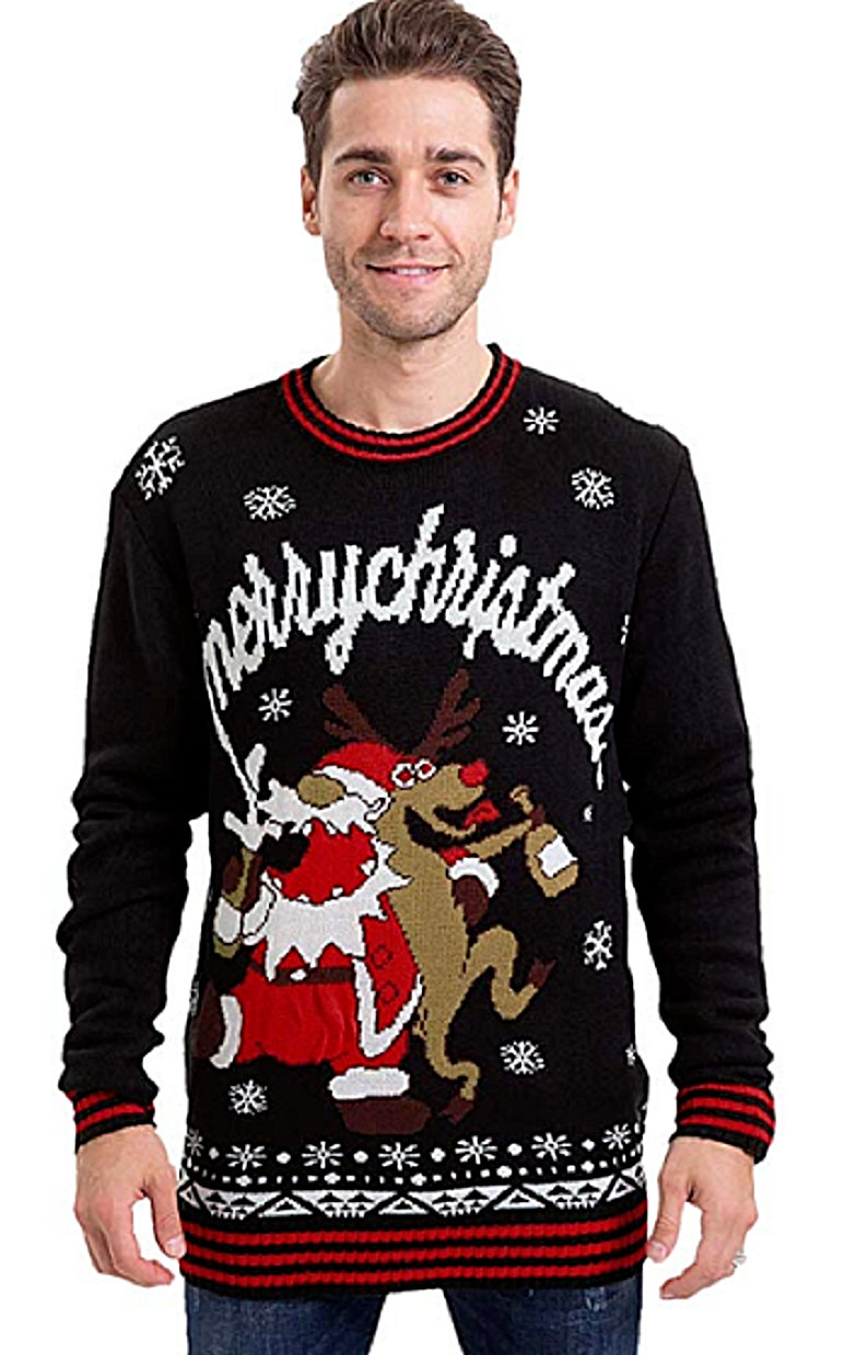 Ugly Christmas Sweater Men's Christmas Funny Pullover Rain Deer Santa Drunk Clothing, Shoes & Accessories
