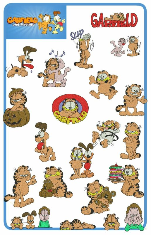 Garfield and friends: 20 embroidery designs (PES, HUS, JEF)