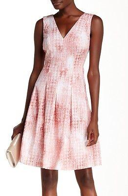 Anne Klein Tie - Anne Klein Pink Shell Cotton Sateen Tie Dye Print V-Neck/Back Fit & Flare Dress