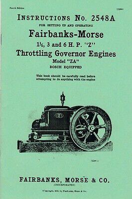 Fairbanks Morse Model ZA 1 1/2 3 6 HP Z Throttle Instruction Book Manual 2548A