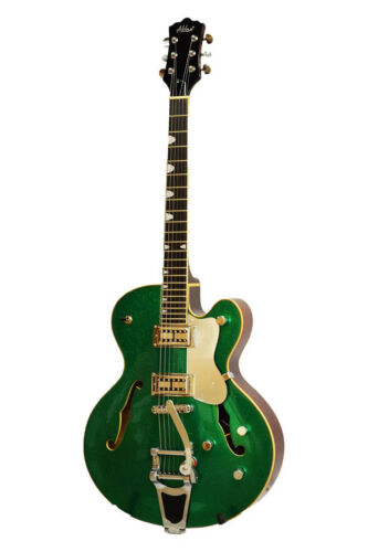 Alden AD Western Star Semi Acoustic Guitar Green Sparkle Jazz Archtop Hollow Bod