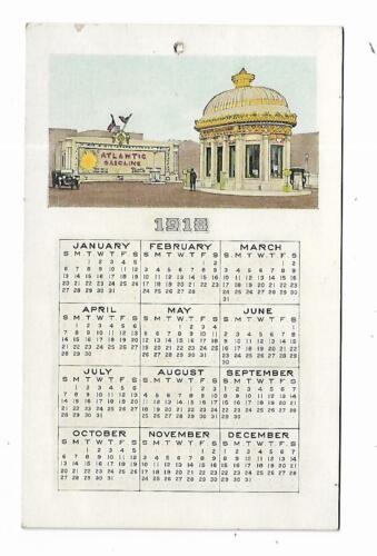 1918 Advertising Premium Calendar Atlantic Gasoline Old Automobile Gas Station