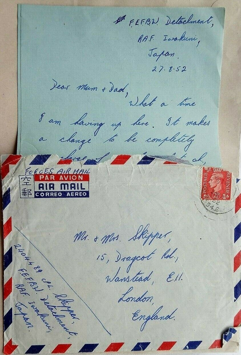JAPAN 1952 COVER & LETTER FROM ROYAL AIR FORCE IWOKUNI + F.P.O. 946