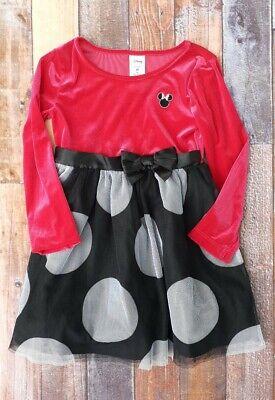 Disney Girls Dress Holiday Christmas Red Velvet Size 3T Black Minnie Mouse