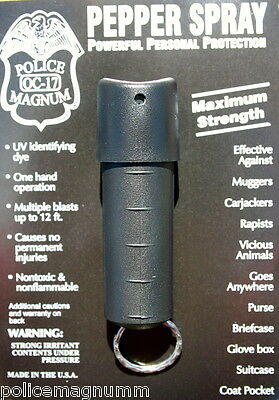 Police Magnum mace pepper spray .50oz black spin top keychain defense protection