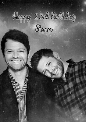 Personalised Supernatural Birthday Card- Jensen Ackles, Misha Collins