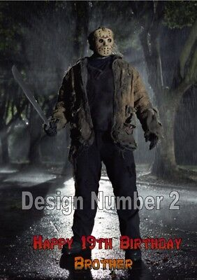 Jason Voorhees Friday 13th Horror Personalised Large Birthday Card Dad Mum ANY (Jason Voorhees Birthday)