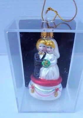 Bride Groom Christmas Glass Ornament Wedding Metallic First Gift Bridal -