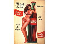 A0 A1 A2 A3 A4 Sizes Coke Cola Pin Up Girl Vintage Giant CANVAS PRINT