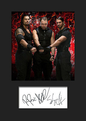 THE SHIELD (Reigns, Rollins & Ambrose) #1 (WWE) Signed Photo A5 Mounted Print