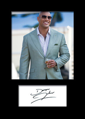 DWAYNE JOHNSON #1 A5 Signed Mounted Photo Print (REPRINT) - FREE DELIVERY