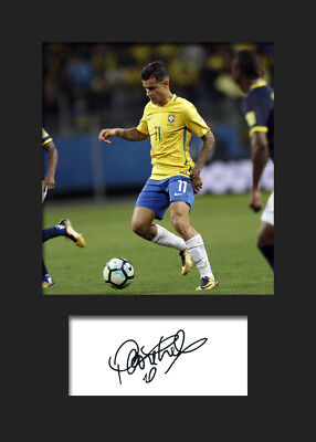 Philippe Coutinho #3 - Brazil Signed Photo A5 Mounted Print - FREE DELIVERY
