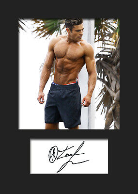 ZAC EFRON #1 A5 Signed Mounted Photo Print (REPRINT) - FREE DELIVERY