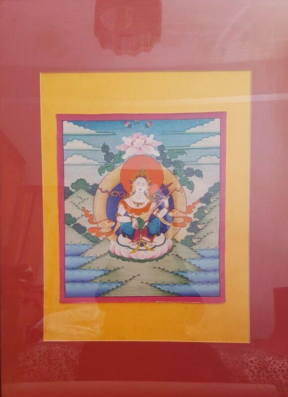 """Beautiful Genuine Tibetan   handpainted thangka . 12.5""""x10""""."""