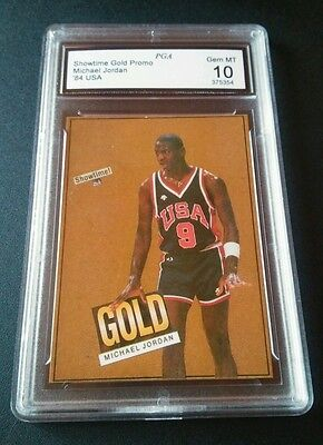 Michael Jordan 1984 Showtime Promo Gold USA NBA Trading Card MT 10